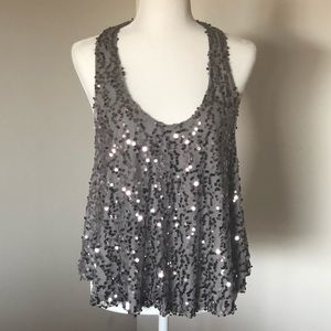 ⭐️Silver and Gray Sparkle Racer Back Tank Top
